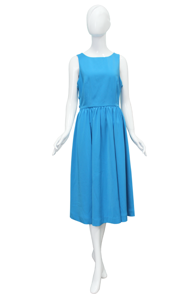 Blue button sleeveless dress